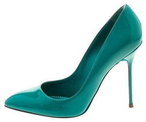 Sergio Rossi Patent Leather Leather Green Pumps