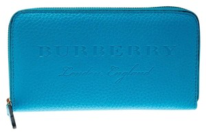 Burberry Bright Blue Leather Zip Around Wallet