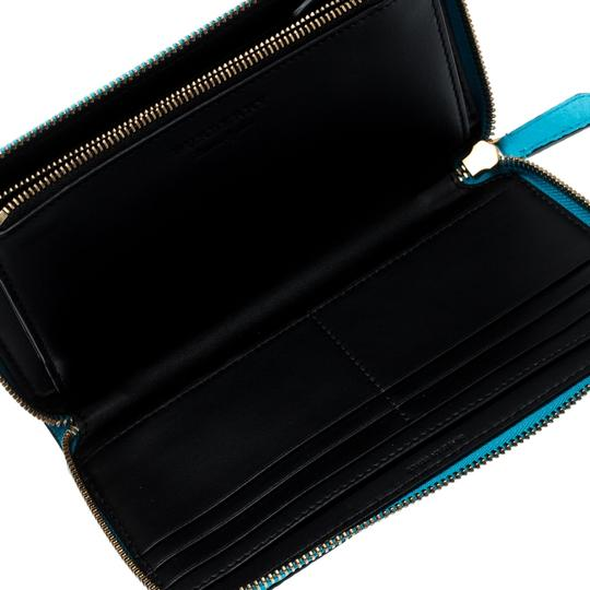 Burberry Bright Blue Leather Zip Around Wallet Image 2