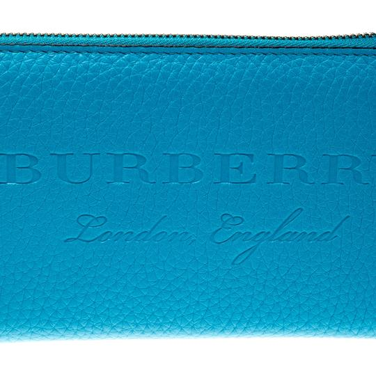 Burberry Bright Blue Leather Zip Around Wallet Image 4