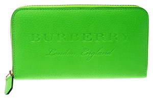 Burberry Bright Green Leather Zip Around Wallet