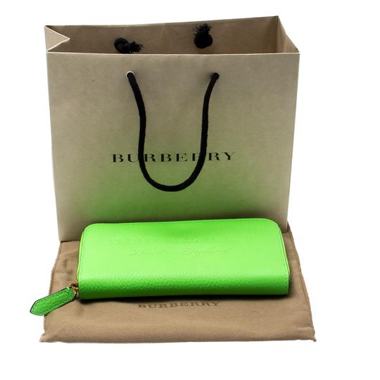 Burberry Bright Green Leather Zip Around Wallet Image 5