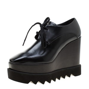 Stella McCartney Faux Leather Leather Wooden Black Wedges