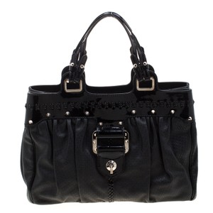 Versace Leather Satin Tote in Black
