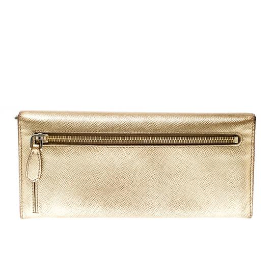 Prada Gold Saffiano Lux Leather Long Flap Wallet Image 1
