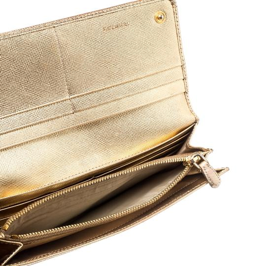 Prada Gold Saffiano Lux Leather Long Flap Wallet Image 2