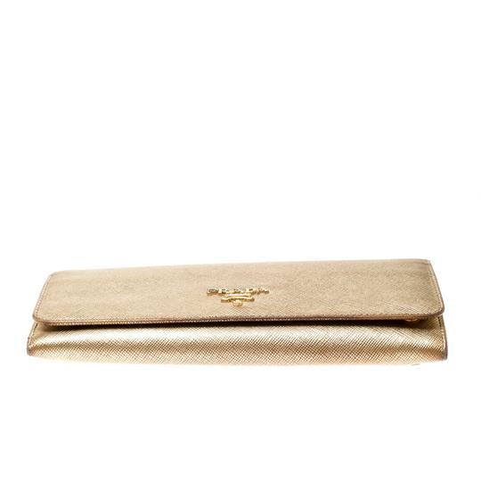 Prada Gold Saffiano Lux Leather Long Flap Wallet Image 3