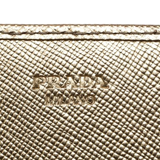 Prada Gold Saffiano Lux Leather Long Flap Wallet Image 4