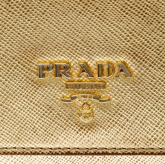 Prada Gold Saffiano Lux Leather Long Flap Wallet Image 5