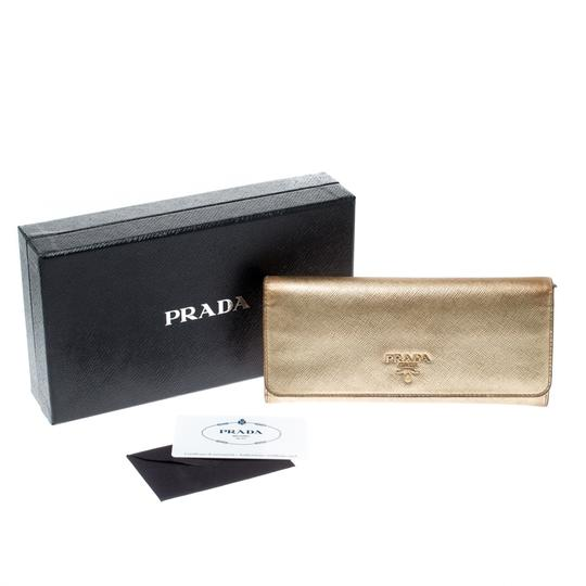 Prada Gold Saffiano Lux Leather Long Flap Wallet Image 7