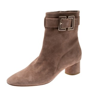 Dior Suede Buckle Detail Ankle Beige Boots