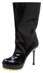 Saint Laurent Patent Leather Platform Midcalf Leather Rubber Black Boots