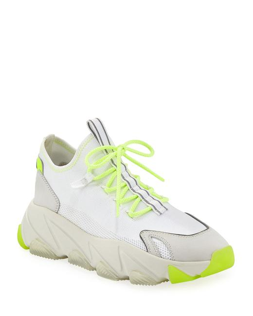 Item - White and Green Excape Lace-up Sock Sneakers Size US 8 Regular (M, B)