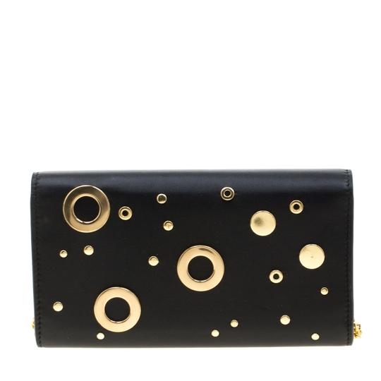 Alexander McQueen Black Leather Eyelet and Stud Wallet On Chain Image 1