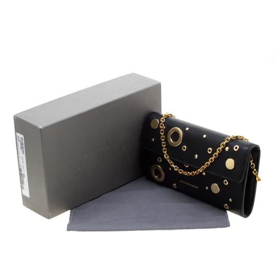 Alexander McQueen Black Leather Eyelet and Stud Wallet On Chain Image 10