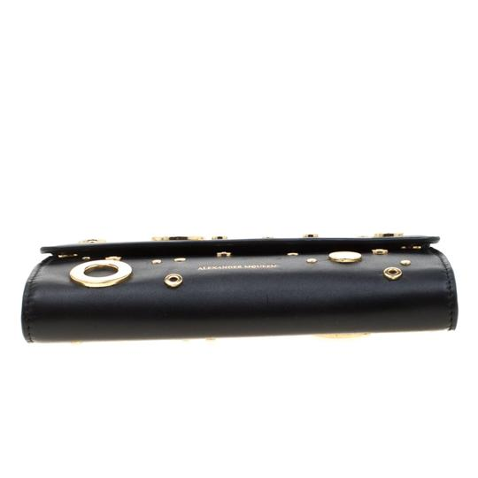 Alexander McQueen Black Leather Eyelet and Stud Wallet On Chain Image 2