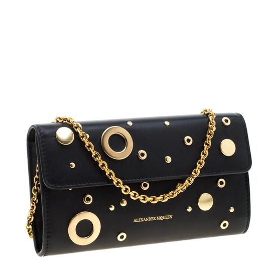 Alexander McQueen Black Leather Eyelet and Stud Wallet On Chain Image 4