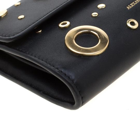 Alexander McQueen Black Leather Eyelet and Stud Wallet On Chain Image 5