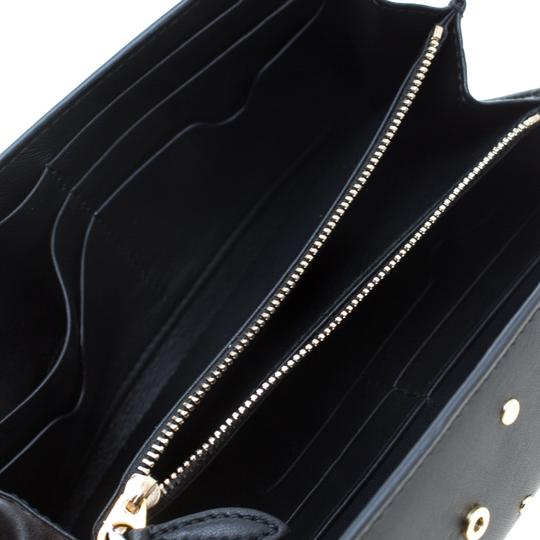 Alexander McQueen Black Leather Eyelet and Stud Wallet On Chain Image 6