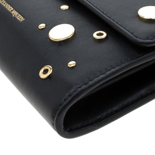 Alexander McQueen Black Leather Eyelet and Stud Wallet On Chain Image 7