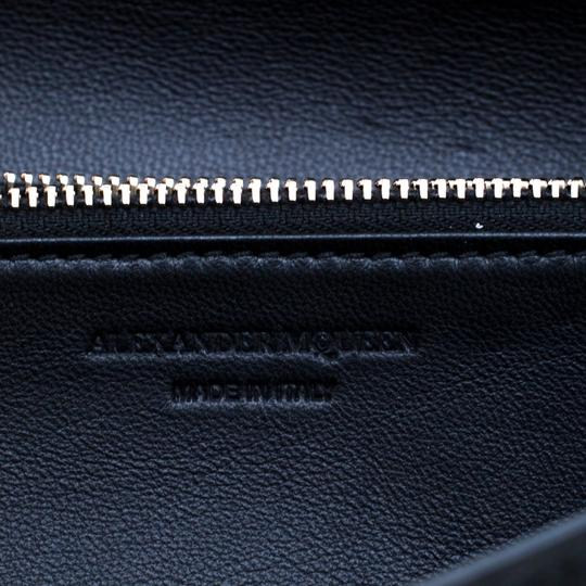 Alexander McQueen Black Leather Eyelet and Stud Wallet On Chain Image 8