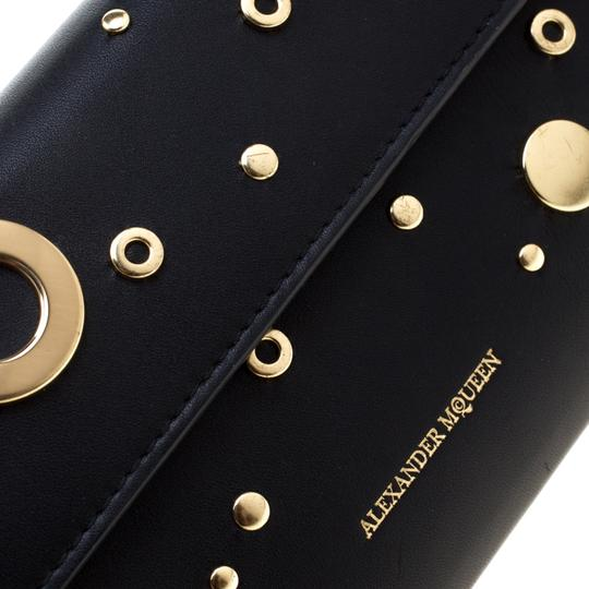 Alexander McQueen Black Leather Eyelet and Stud Wallet On Chain Image 9