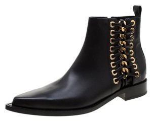 Alexander McQueen Leather Detail Ankle Black Boots