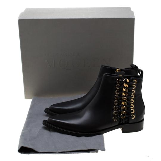 Alexander McQueen Leather Detail Ankle Black Boots Image 7