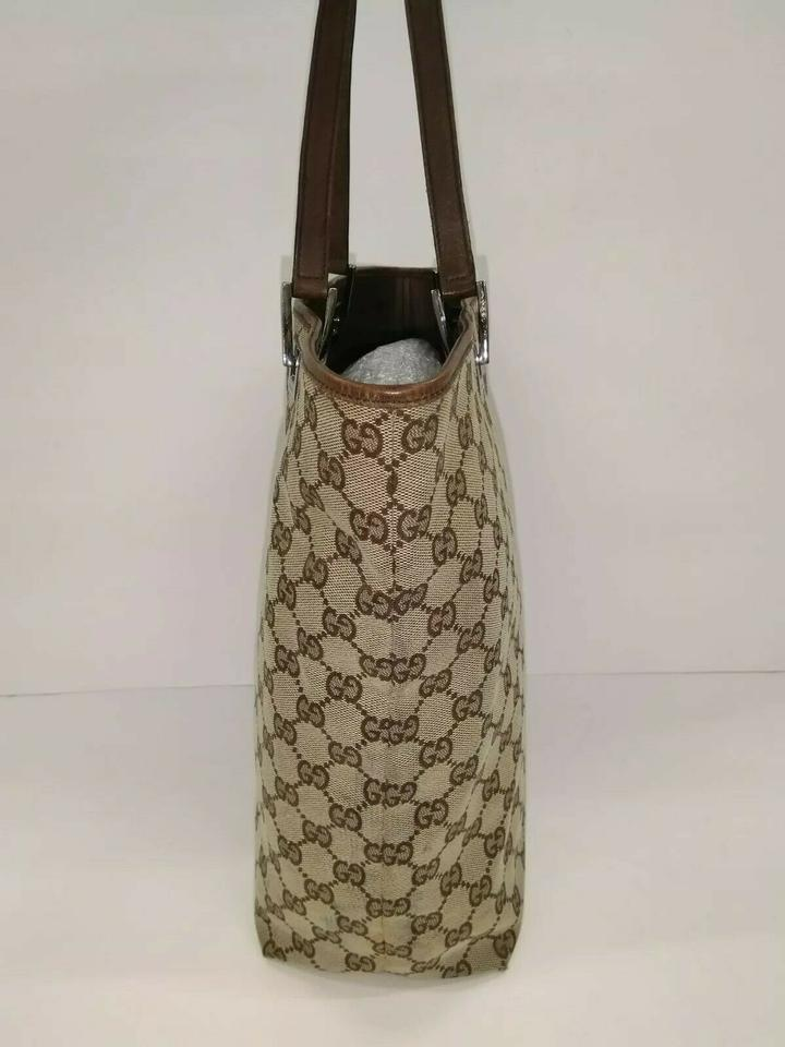 Gucci Bag Bucket Gg Jacquard Medium Vintage Purse Brown Canvas Leather Tote