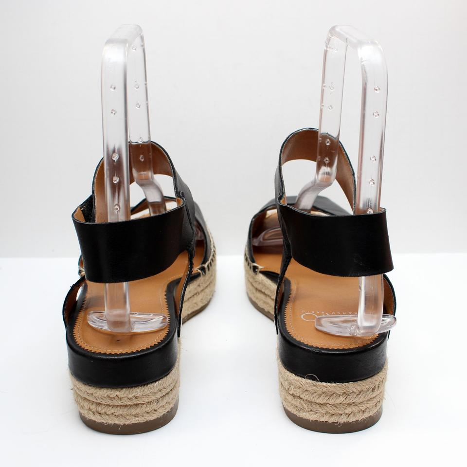 1c67f87cc57 Franco Sarto Black Oak Leather Platform Wedge Espadrille Peep Toe Sand  Sandals Size US 9 Regular (M, B)