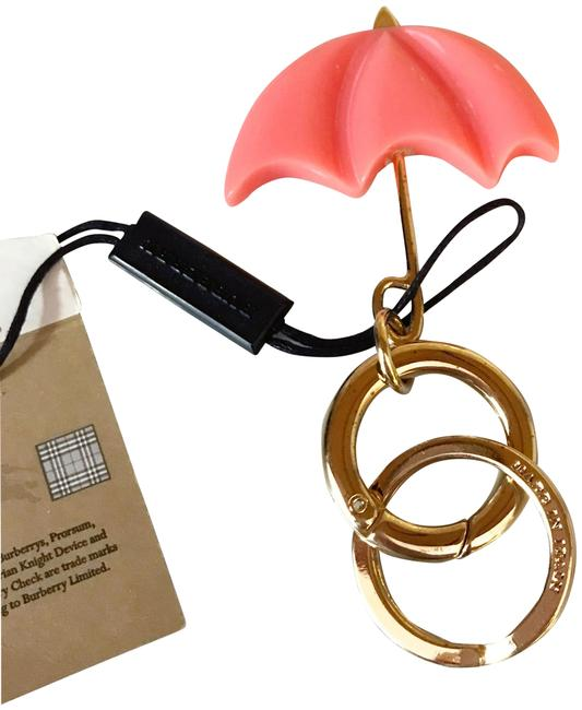 Item - Pink New Coral and Gold Umbrella Bag Charm / Keychain