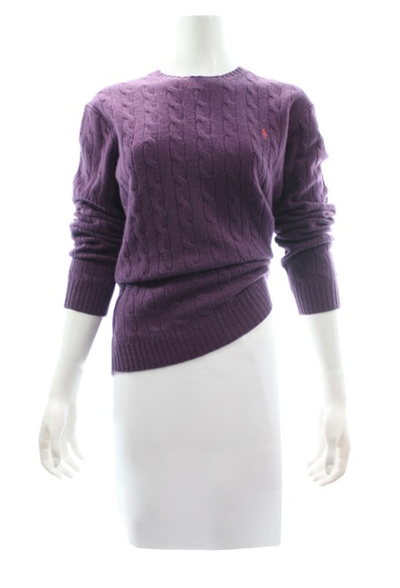 Item - L Sport Cable Knit Lambswool Size Purple Sweater
