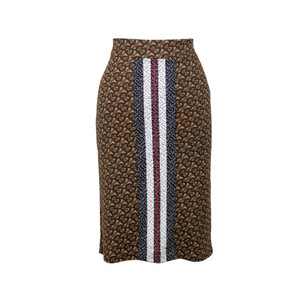 Burberry Pencil Bold Stripe Elastic Monogram Skirt Brown