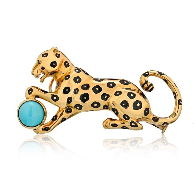 Item - Yellow Gold Panther Pin Brooch with Turquoise and Emerald Eyes