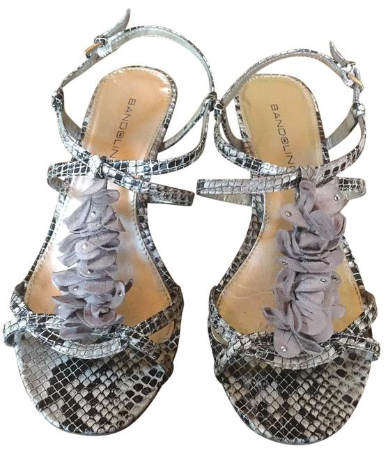 Item - Taupe & Black Like New Strappy Snakeskin&ruffled Suede Sandals Size US 7.5 Regular (M, B)