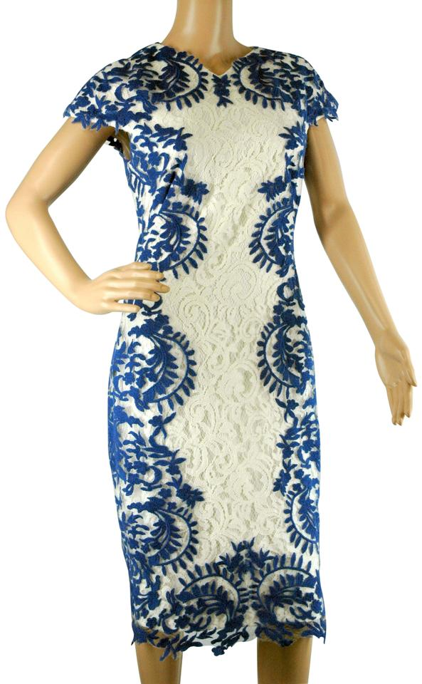 Tadashi Shoji White And Blue Embroidered Floral Lace Midi Mid Length Short Casual Dress Size 8 M 73 Off Retail