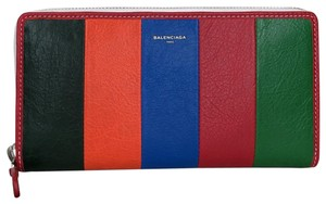Balenciaga Bazar Continental Zip Around Stripe Wallet