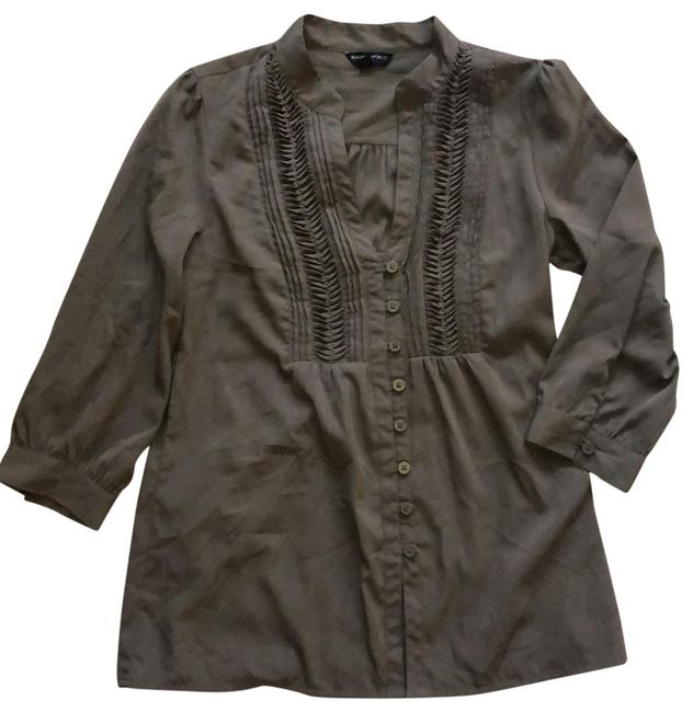 Item - Olive/Brown Smocked Detailed Tunic Size 4 (S)
