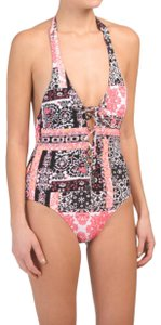 SeaFolly Seafolly Silk Market Lace-Up Halter One-Piece Swimsuit