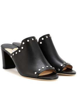Jimmy Choo Studded Leather Blogger Work Black Mules