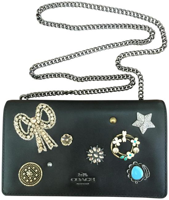 Item - Clutch Callie Jeweled Crystal Embellished Black/Copper Leather Cross Body Bag