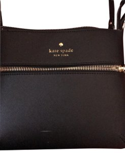 Kate Spade black with gold zippers Messenger Bag