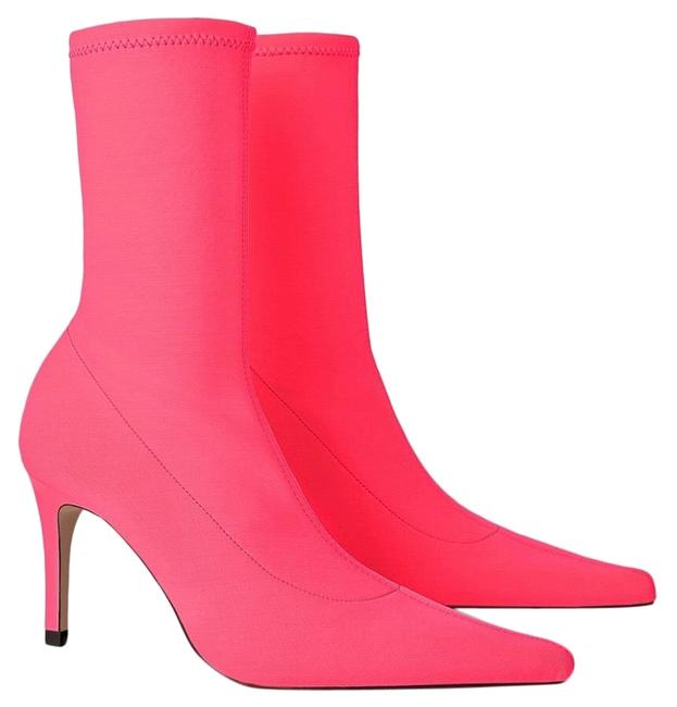 Item - Neon Pink Fluorescent Sock Style Heeled 6.5 Boots/Booties Size US 7.5 Regular (M, B)