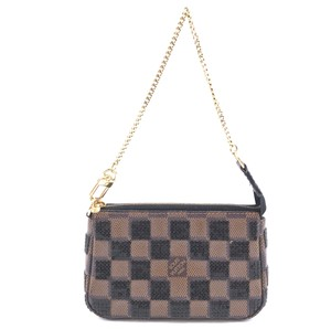 Louis Vuitton Damier Pochette Paillette Baguette Wristlet in Brown black