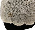 Double U Custom Knit Looks Handmade Top Off-white with gold detail