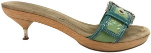 Prada Wooden Sandal Buckle Green Mules