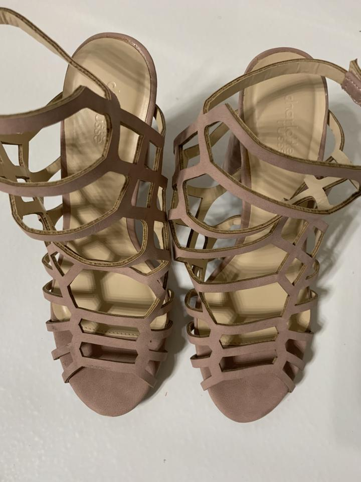 c002e140133 Charlotte Russe Nude Caged Strappy Block Heel Sandals(Nude) Sandals Size US  9 Regular (M, B)