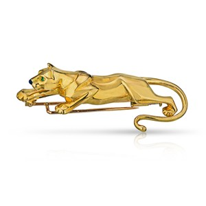 Cartier Panther Pin Brooch With Emerald Eyes