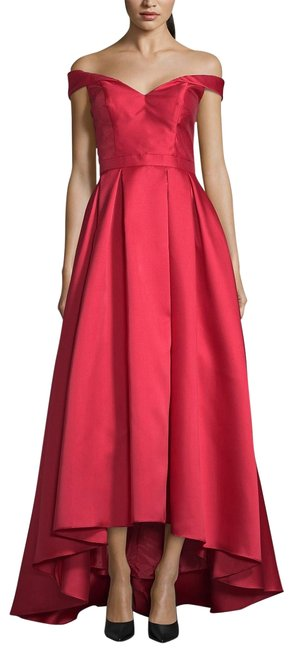 Item - Dark Red Off-the-shoulder High-low Gown Long Formal Dress Size Petite 10 (M)