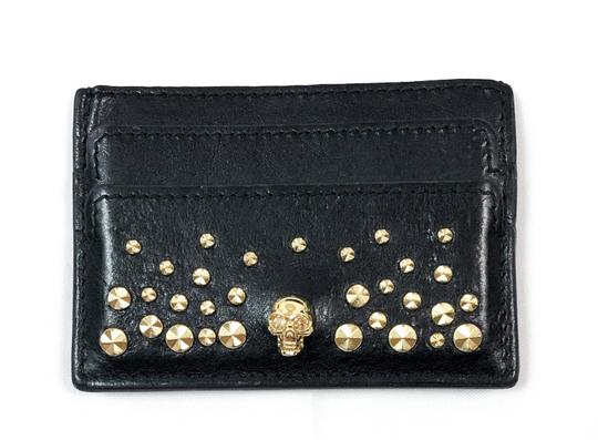 more photos b43ee 17f52 Alexander McQueen Black Leather Skull Studded Card Case Wallet